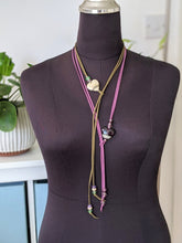 Load image into Gallery viewer, Red Lentil Bead on Grey Lariat Style Necklace