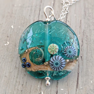 Starlight Confetti Large Lentil Pendant in teal