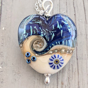 Starlight Confetti Medium Heart Pendant in cobalt