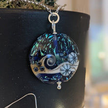 Load image into Gallery viewer, Starlight Confetti Large Lentil Pendant in cobalt