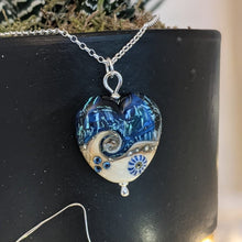 Load image into Gallery viewer, Starlight Confetti Medium Heart Pendant in cobalt