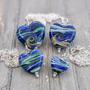 Streaky Blue Green Medium Heart Pendant