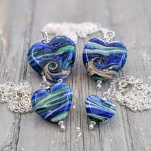 Load image into Gallery viewer, Streaky Blue Green Sweetheart Pendant
