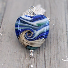 Load image into Gallery viewer, Streaky Blue Green Medium Heart Pendant
