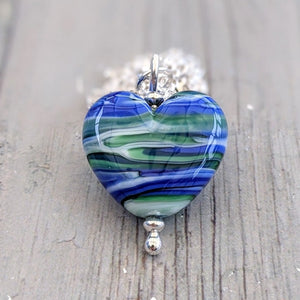 Streaky Blue Green Sweetheart Pendant