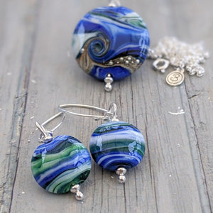 Streaky Blue Green Lentil Earrings