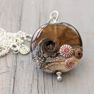 Large Copper Sparkle Lentil Pendant with murrini