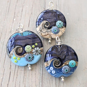 Blue Surf and Midnight Sparkle Lentil Pendant with Murrini, 28mm