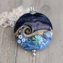 Load image into Gallery viewer, Blue Surf and Midnight Sparkle Lentil Pendant with Murrini, 28mm