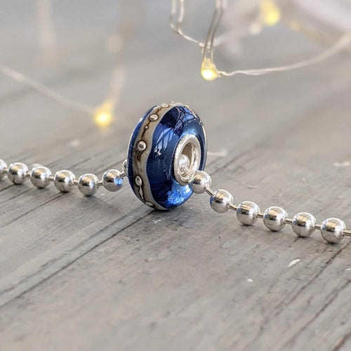 Transparent Blue Silver Cored Bead