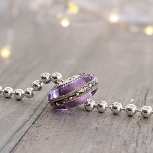Transparent Lavender Silver Cored Bead