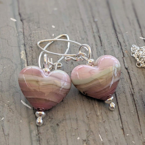 Sea Thrift Heart Earrings