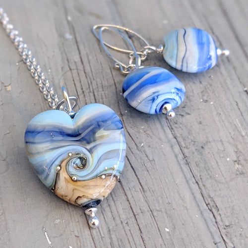 Blue Streaky Medium Heart Pendant