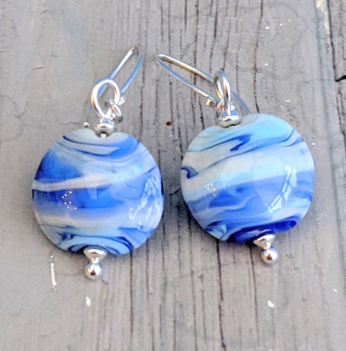 Blue Streaky Lentil Earrings