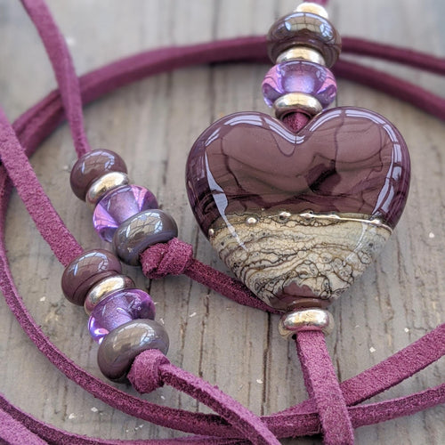 Purple Heart on Purple Lariat Style Necklace