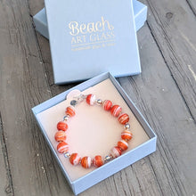 Load image into Gallery viewer, Seaside Sunset Glass & Silver Bracelet