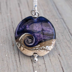 Midnight Sparkle Lentil Pendant, 32mm