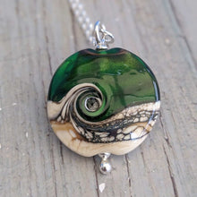 Load image into Gallery viewer, Green Sparkle Lentil Pendant, 28mm
