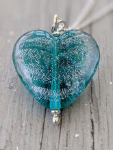 Load image into Gallery viewer, Starlight Teal Heart Pendant