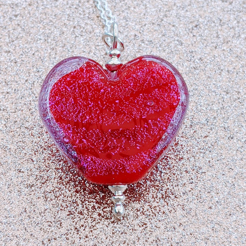 Starlight Cranberry Large Heart Pendant