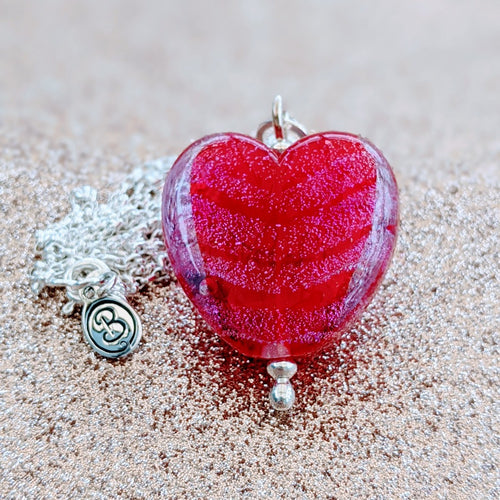 Starlight Cranberry Medium Heart Pendant