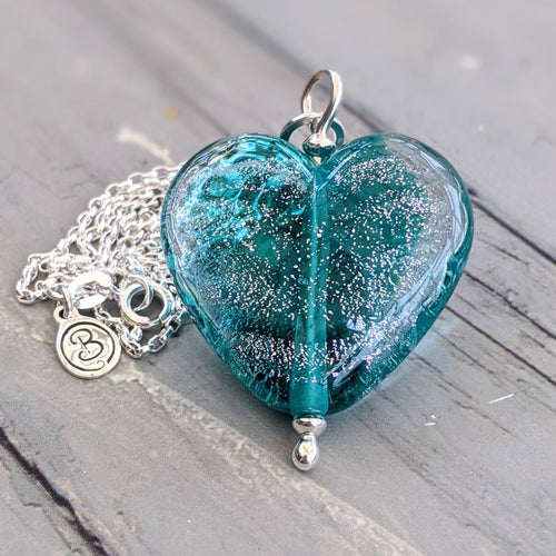 Starlight Teal Heart Pendant