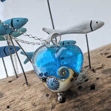 Load image into Gallery viewer, Starlight Heart Pendant in aqua and sand