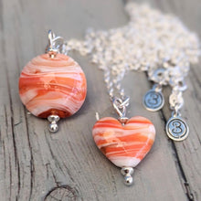 Load image into Gallery viewer, Seaside Sunset Mini Heart Pendant