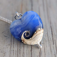 Load image into Gallery viewer, Misty Blue Medium Heart Pendant