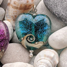 Load image into Gallery viewer, Starlight Medium Heart Pendant in teal