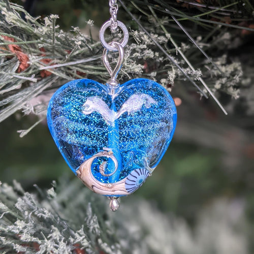 Starlight Heart Pendant in aqua