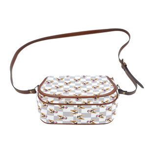 White Gray Checkerboard Saddle Bag - Gifts for Dog Lovers