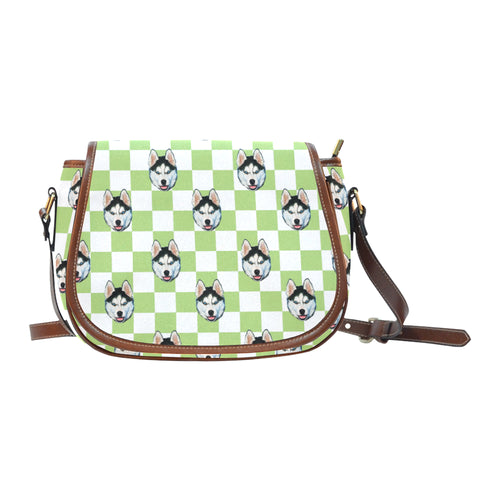 White Green Checkerboard Saddle Bag - Gifts for Dog Lovers