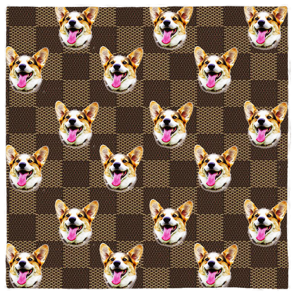 Brown Checkerboard Pattern Pet Bandanas