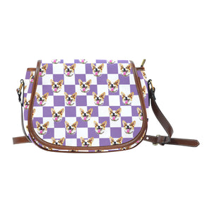 Purple White Checkerboard Saddle Bag - Gifts for Dog Lovers