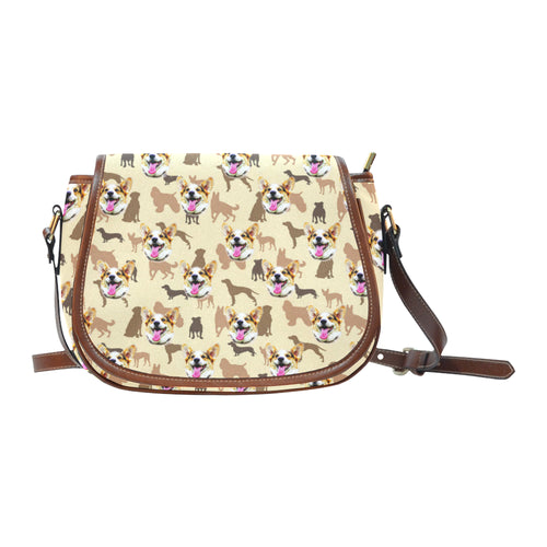 Brown Pastel Pups Saddle Bag - Gifts for Dog Lovers