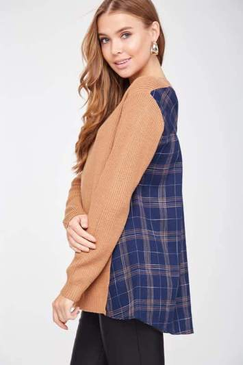 Plaid Contrast Sweater Top