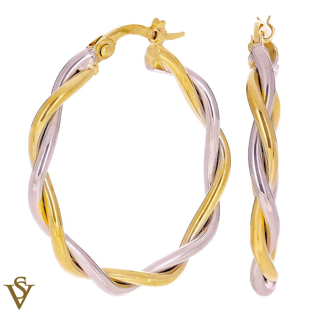 Christian Van Sant Italian 14k Yellow & White Gold Earrings - CVE9LRP