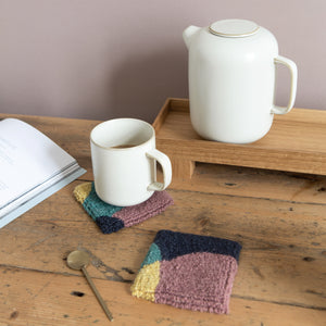 Whole punching coaster set with teapot and mug