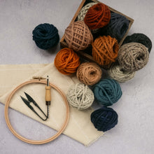 Load image into Gallery viewer, Punch needle, thread snips, monks cloth fabric, hoop and balls of yarn