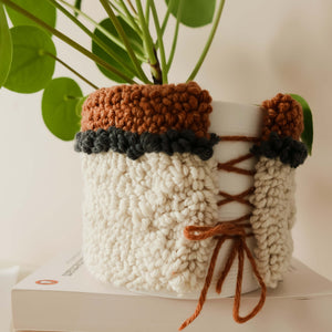 Punch needle plant pot cover kit