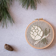 Load image into Gallery viewer, pine cone mini hoop punch needle kit