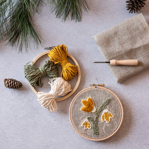 Snowdrops mini hoop punch needle kit