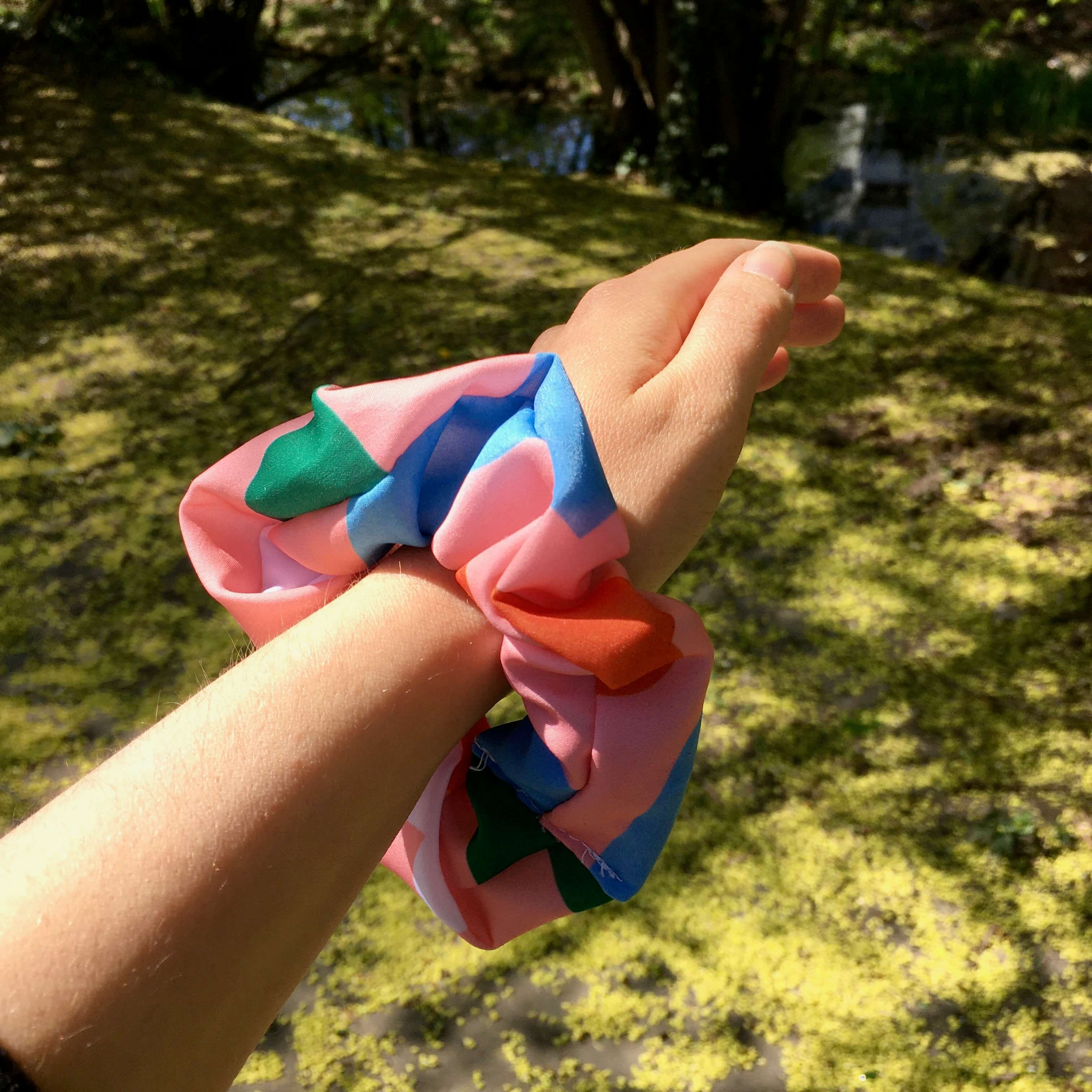 Hair scrunchie used from waste 'Flowerbed' fabric