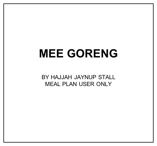 Wed, Oct 30 - Mee Goreng - Living Menu