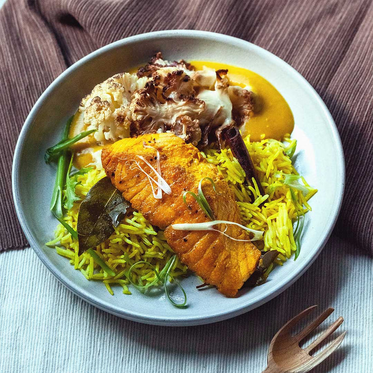Thu, Oct 17 - Masala Spiced Salmon With Pilaf Rice - Living Menu