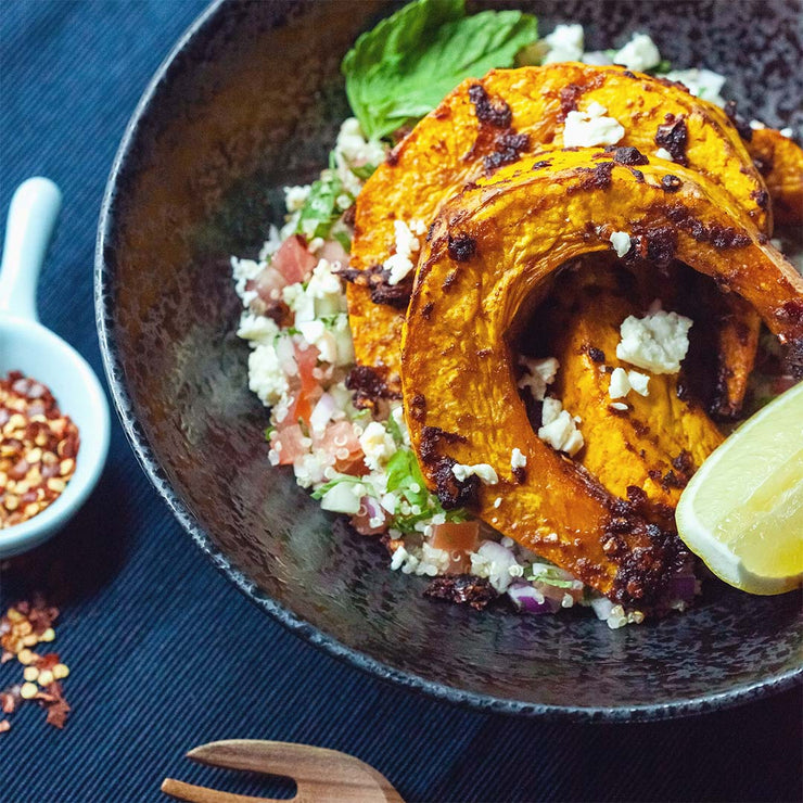 Thu, Sep 12 - Spice Pumpkin Served With Quinoa, Feta Cheese, Tomato, Cucumber, Onion & Lemon