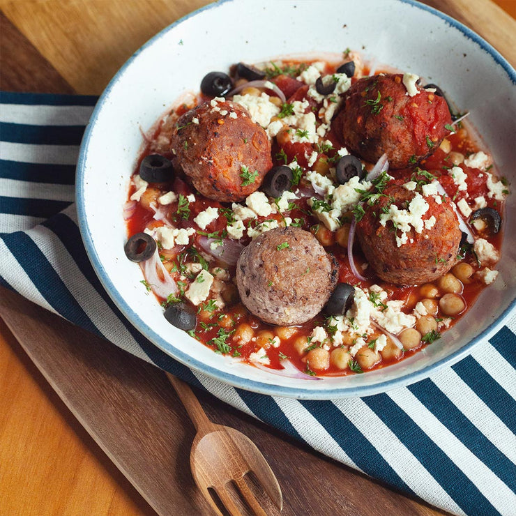 Wed, Mar 4 - Vegetarian Meat Balls With Chickpea And Tomato Stew - Living Menu