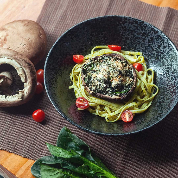 Thu, Jan 23 - Spinach Stuffed Portobello Mushroom With Pesto Pasta (Vegan)