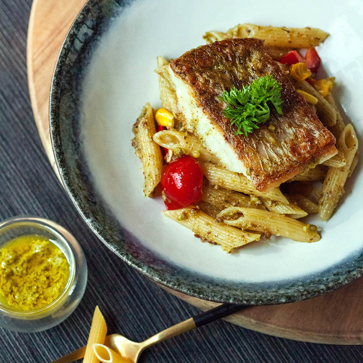 Fri, Mar 27 - Pan Seared Barramundi With Pesto Pasta - Living Menu
